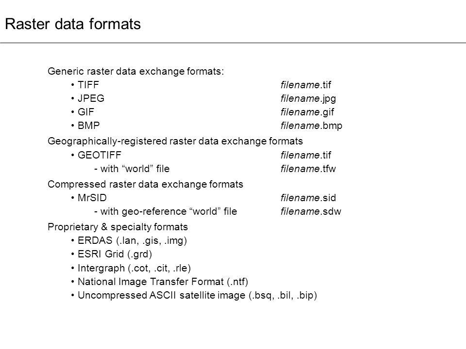 Raster data formats Generic raster data exchange formats: