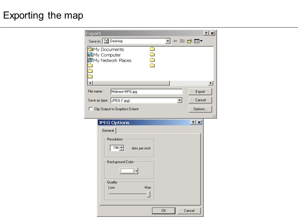 Exporting the map