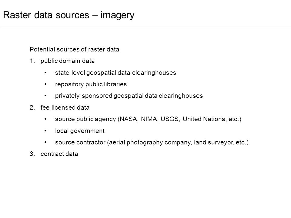Raster data sources – imagery