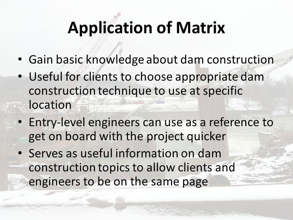 Application of Matrix Gain basic knowledge about dam construction