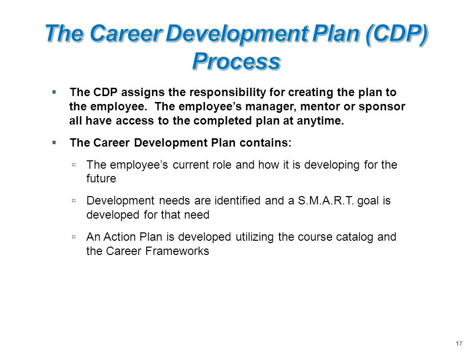 The Career Development Plan (CDP) Process