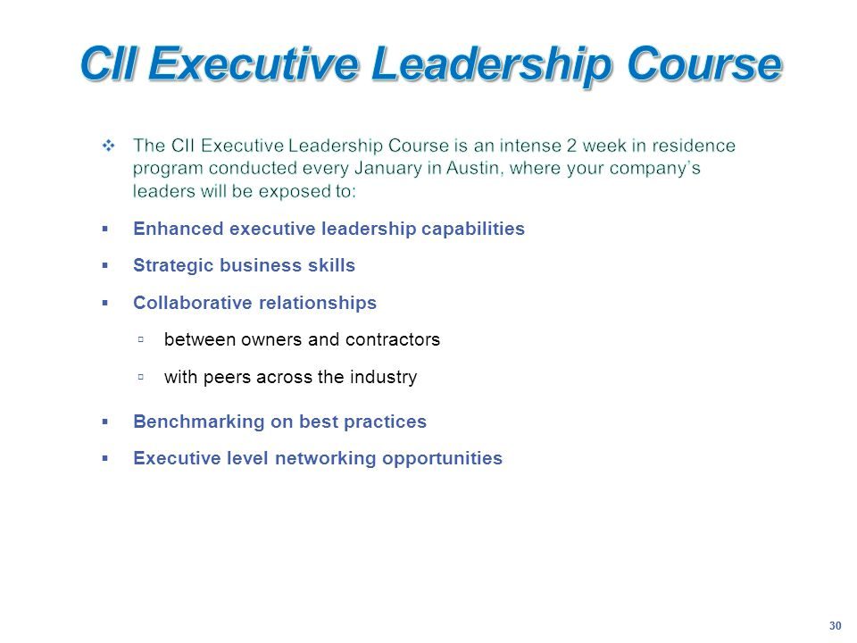 CII Executive Leadership Course