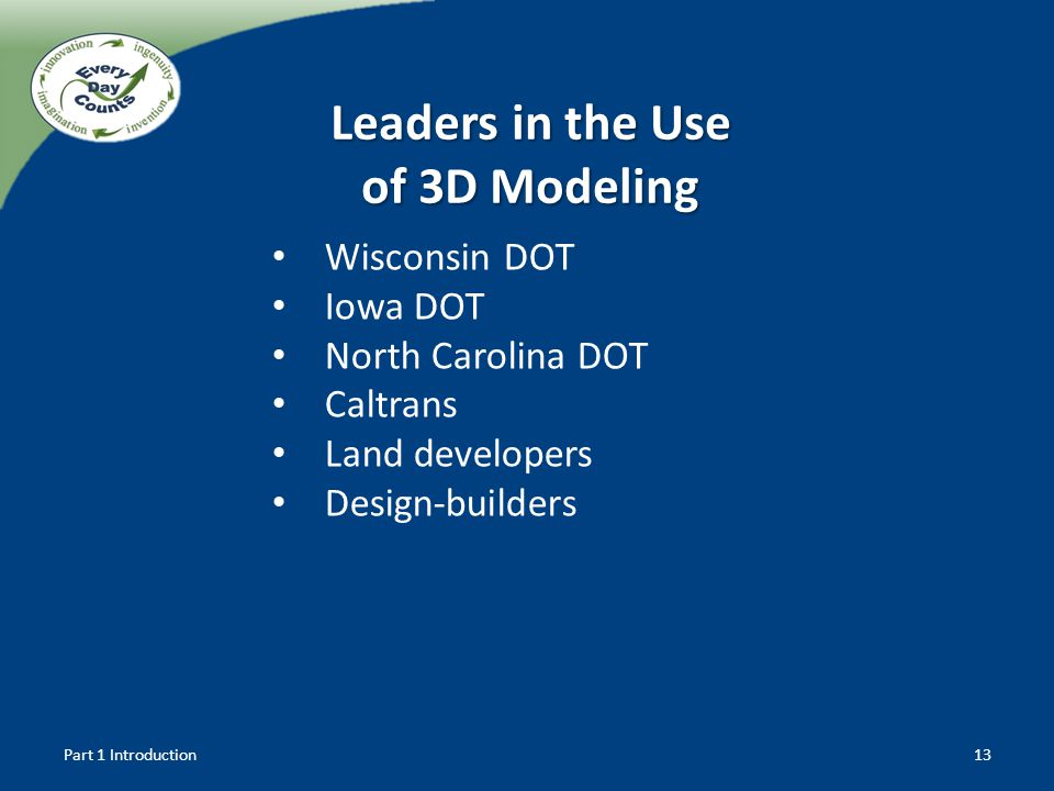 Leaders in the Use of 3D Modeling Wisconsin DOT Iowa DOT