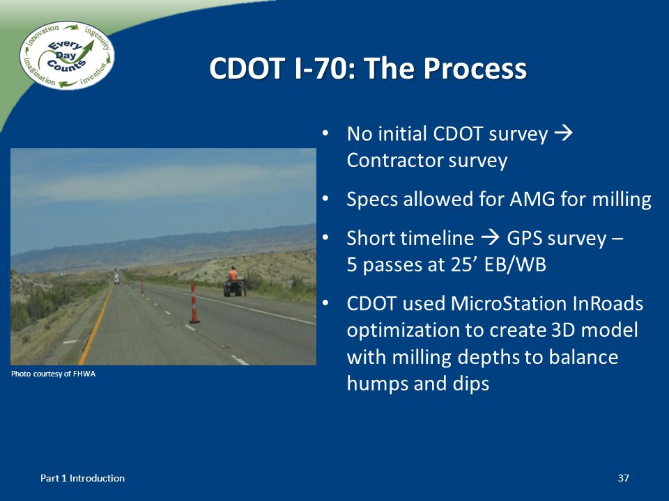 CDOT I-70: The Process No initial CDOT survey  Contractor survey