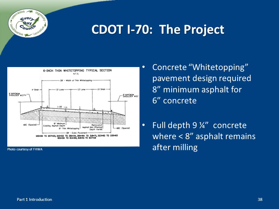 CDOT I-70: The Project Concrete Whitetopping pavement design required 8 minimum asphalt for 6 concrete.
