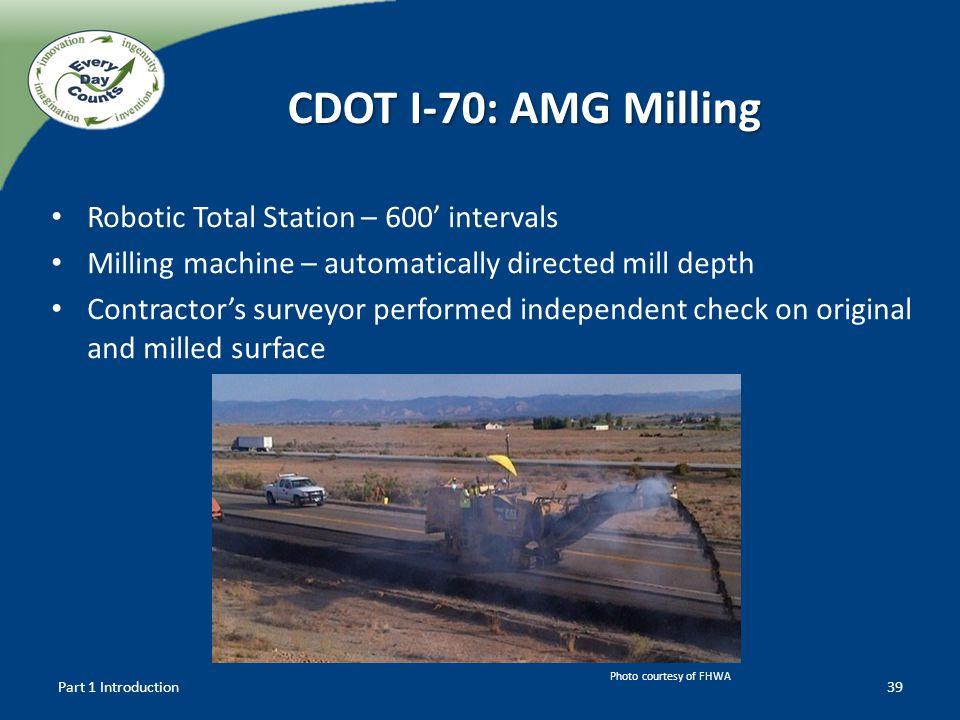 CDOT I-70: AMG Milling Robotic Total Station – 600' intervals