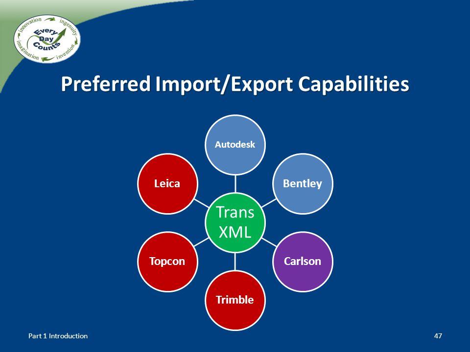 Preferred Import/Export Capabilities
