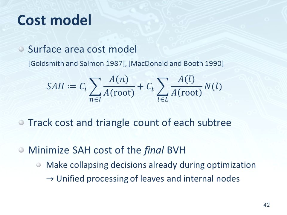 Cost model Surface area cost model