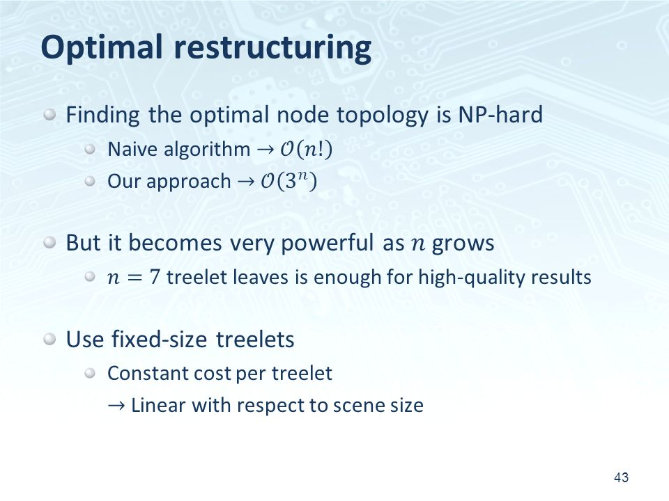 Optimal restructuring