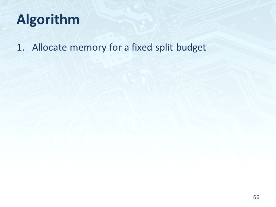 Algorithm Allocate memory for a fixed split budget