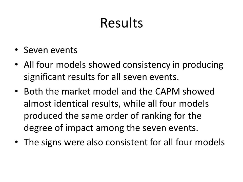 Results Seven events. All four models showed consistency in producing significant results for all seven events.