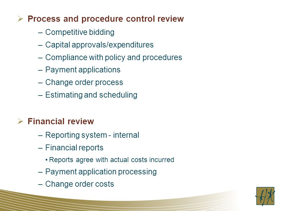 Process and procedure control review