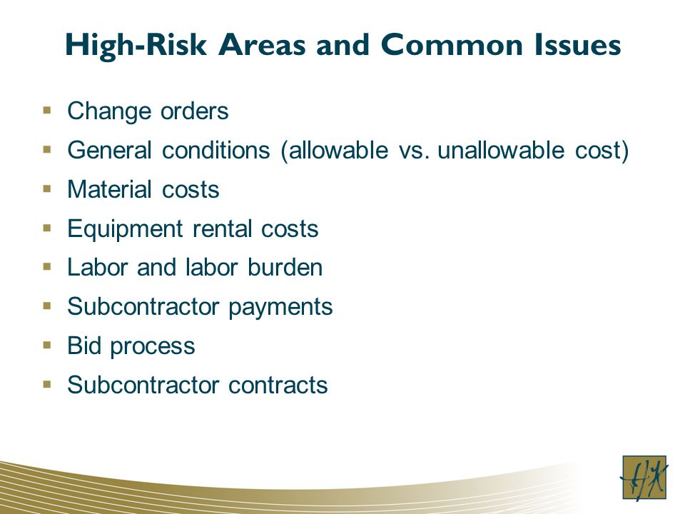 High-Risk Areas and Common Issues