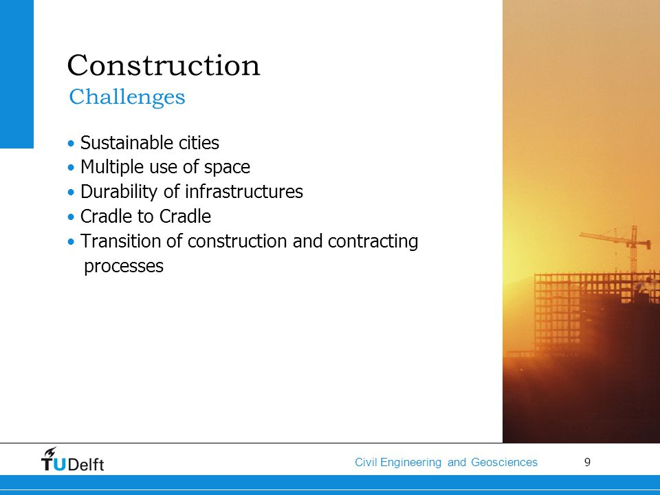 Construction Challenges Sustainable cities Multiple use of space