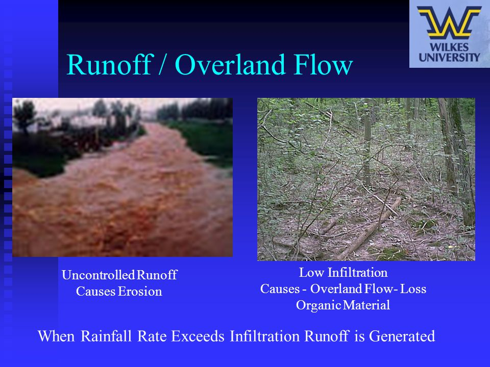 Runoff / Overland Flow Uncontrolled Runoff Causes Erosion. Low Infiltration Causes - Overland Flow- Loss Organic Material.