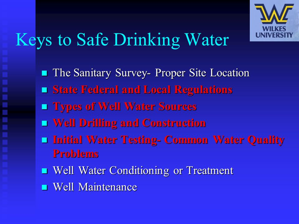 Keys to Safe Drinking Water