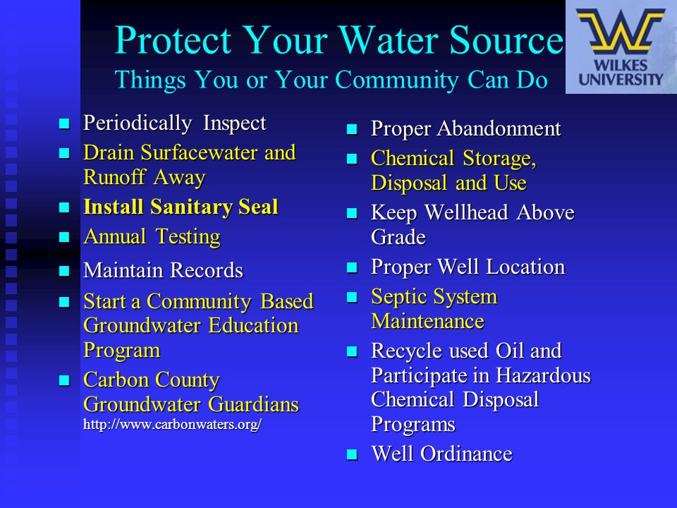 Protect Your Water Source Things You or Your Community Can Do