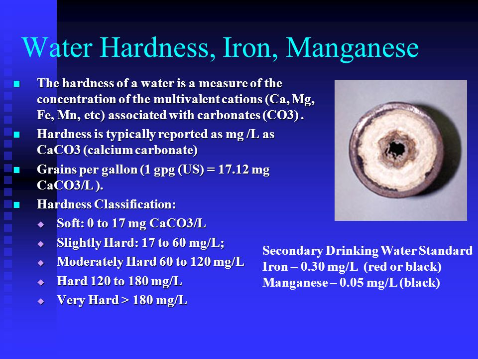 Water Hardness, Iron, Manganese