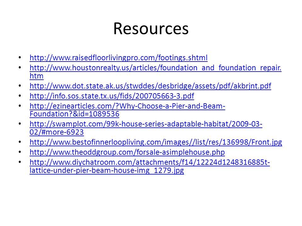 Resources http://www.raisedfloorlivingpro.com/footings.shtml