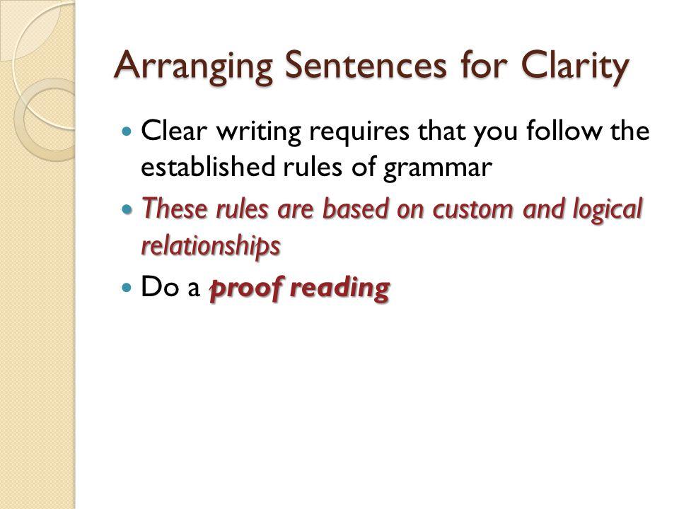 Arranging Sentences for Clarity