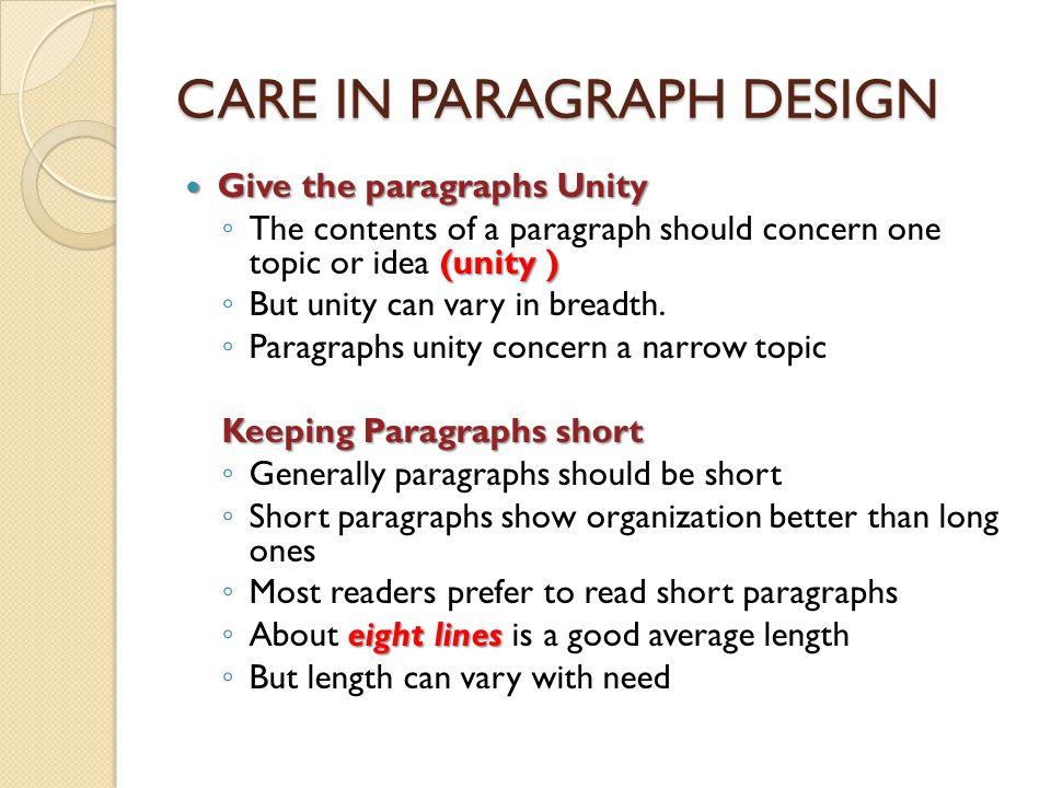 CARE IN PARAGRAPH DESIGN