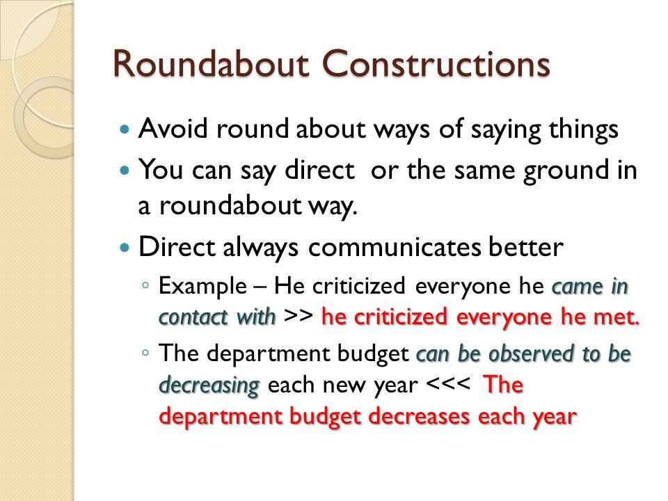 Roundabout Constructions