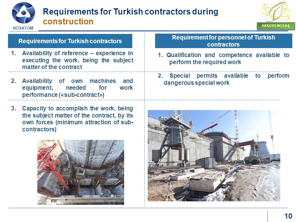 Requirements for Turkish contractors during construction