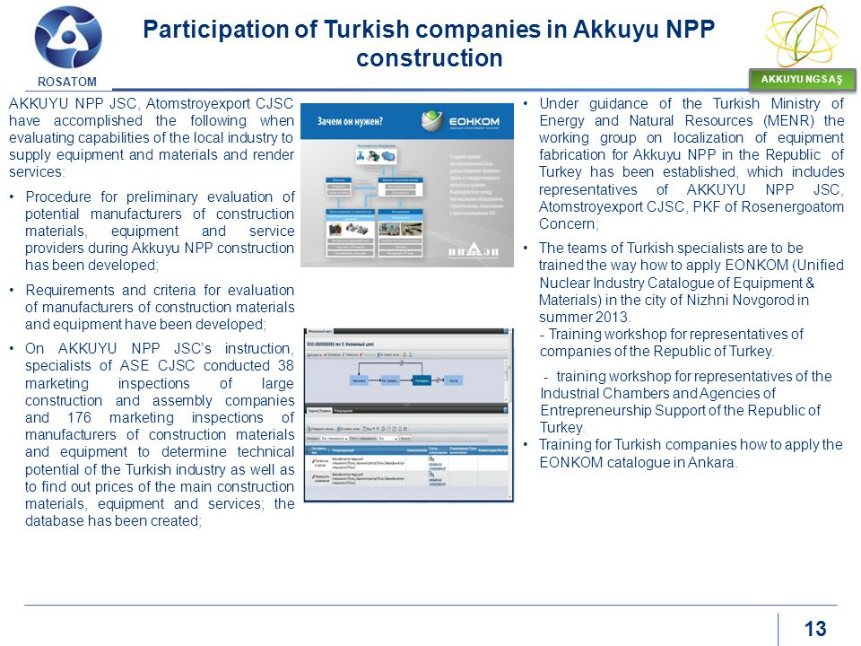 Participation of Turkish companies in Akkuyu NPP construction