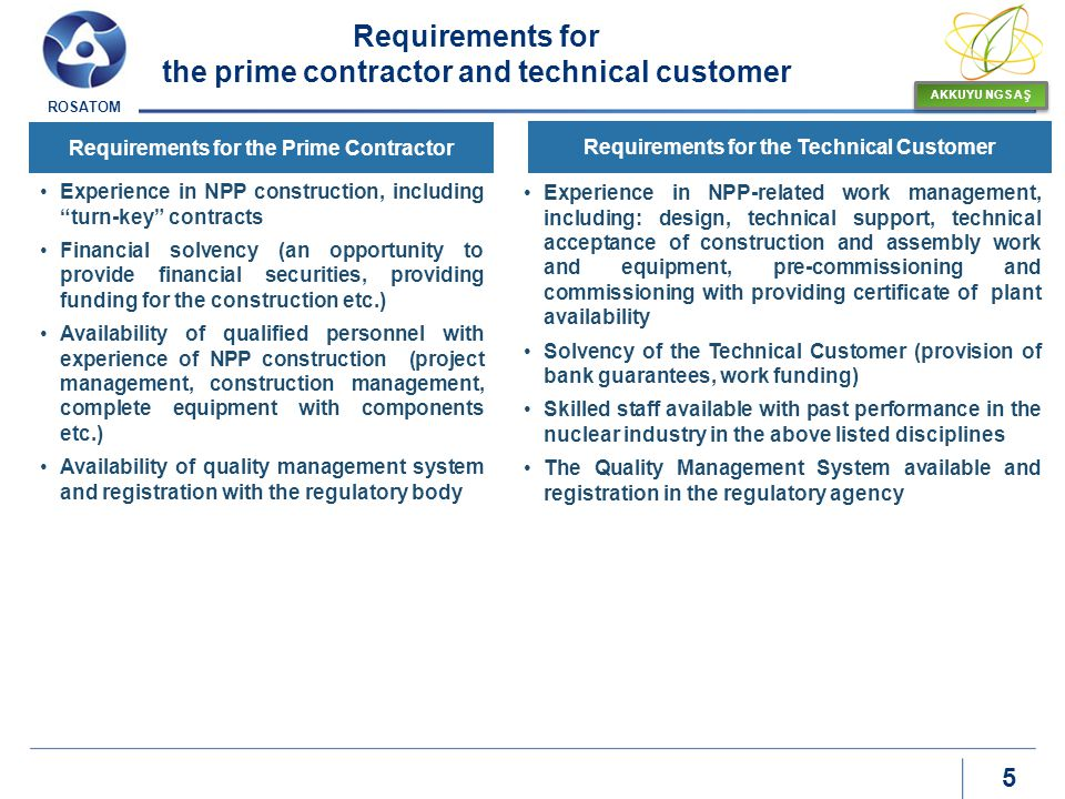 Requirements for the prime contractor and technical customer
