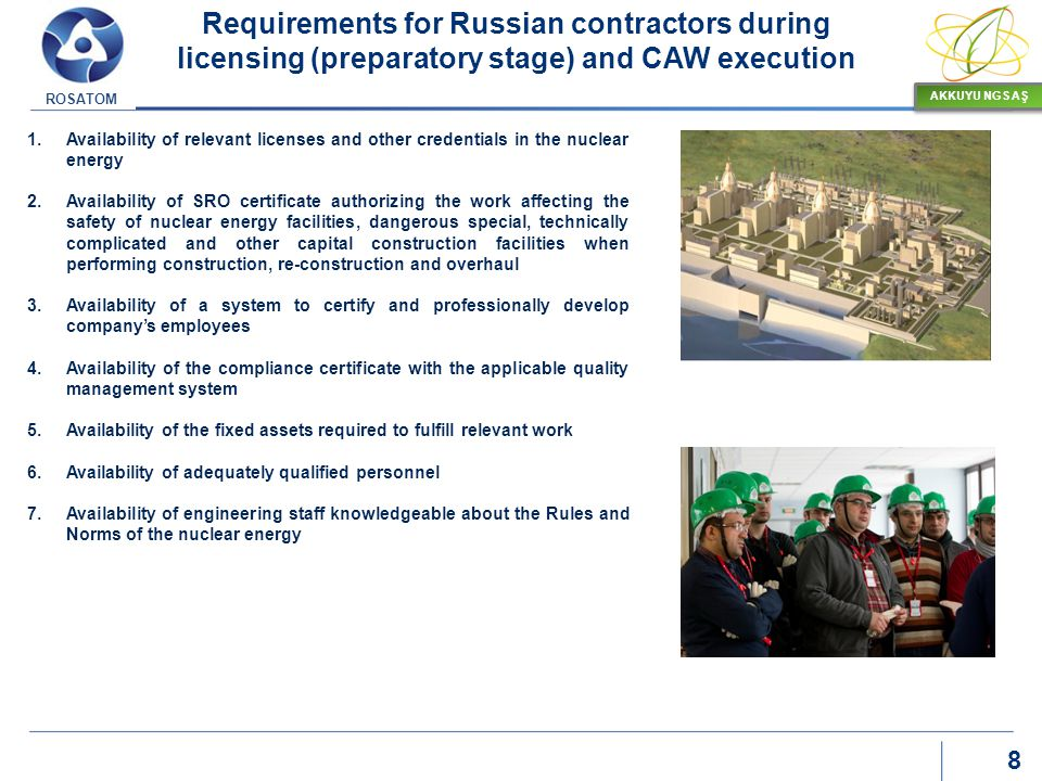 Requirements for Russian contractors during licensing (preparatory stage) and CAW execution