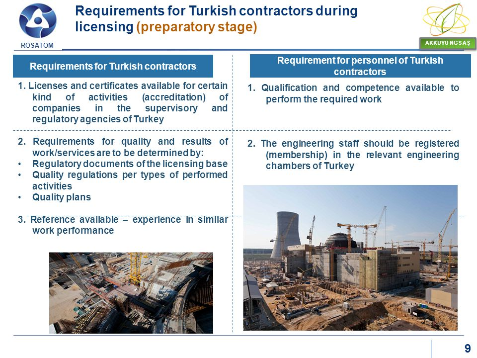 Requirements for Turkish contractors during licensing (preparatory stage)