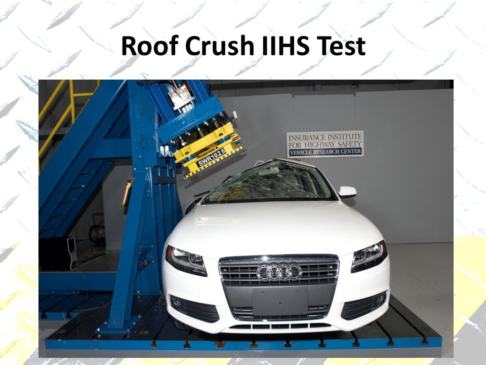 Roof Crush IIHS Test 2010 Audi A4 rollover roof strength test after
