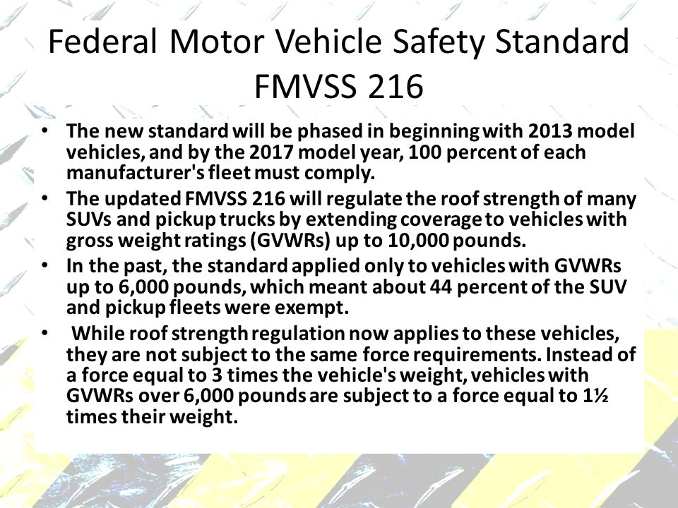 Federal Motor Vehicle Safety Standard FMVSS 216
