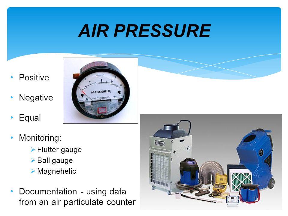 AIR PRESSURE Positive Negative Equal Monitoring: