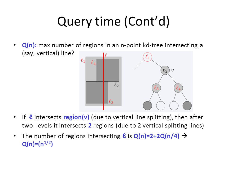 Query time (Cont'd) Q(n): max number of regions in an n-point kd-tree intersecting a (say, vertical) line