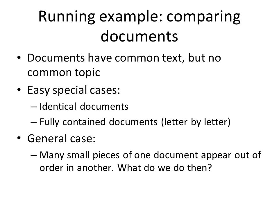 Running example: comparing documents