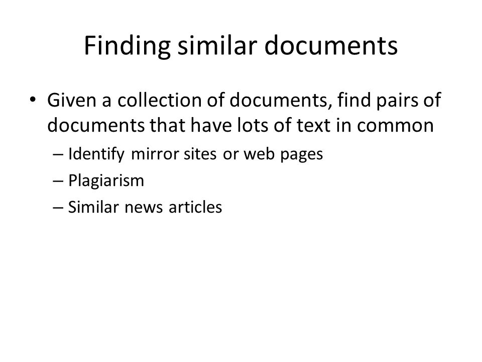 Finding similar documents