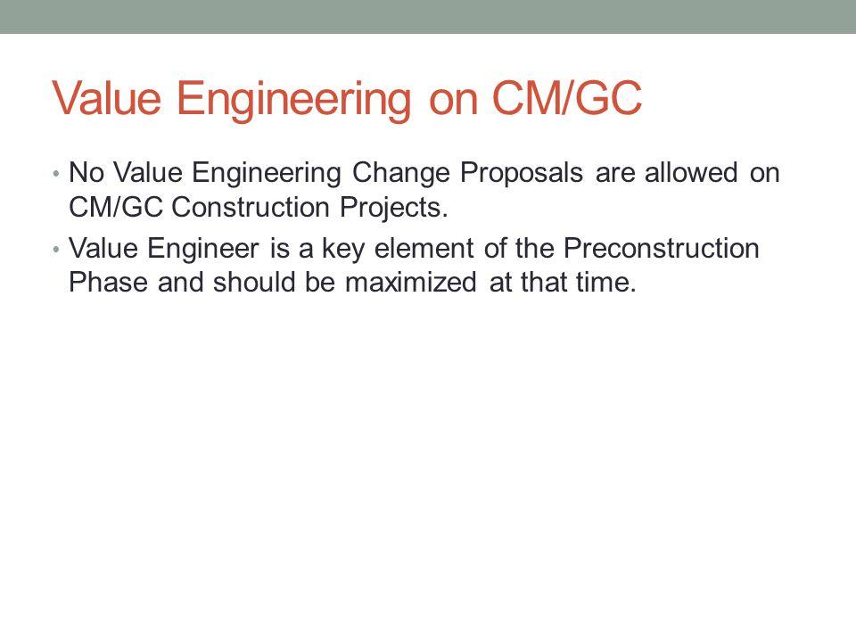 Value Engineering on CM/GC