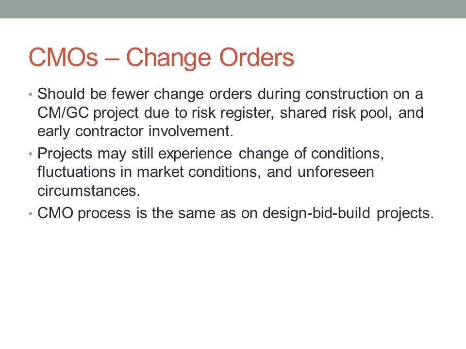 CMOs – Change Orders