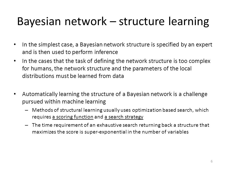 Bayesian network – structure learning