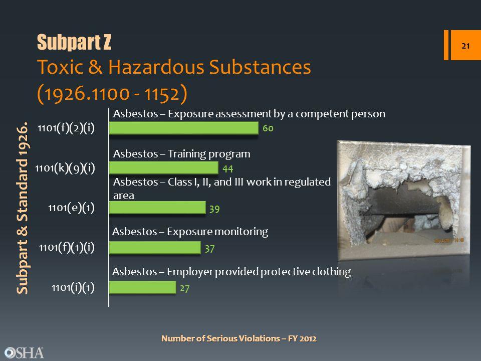 Subpart Z Toxic & Hazardous Substances (1926.1100 - 1152)