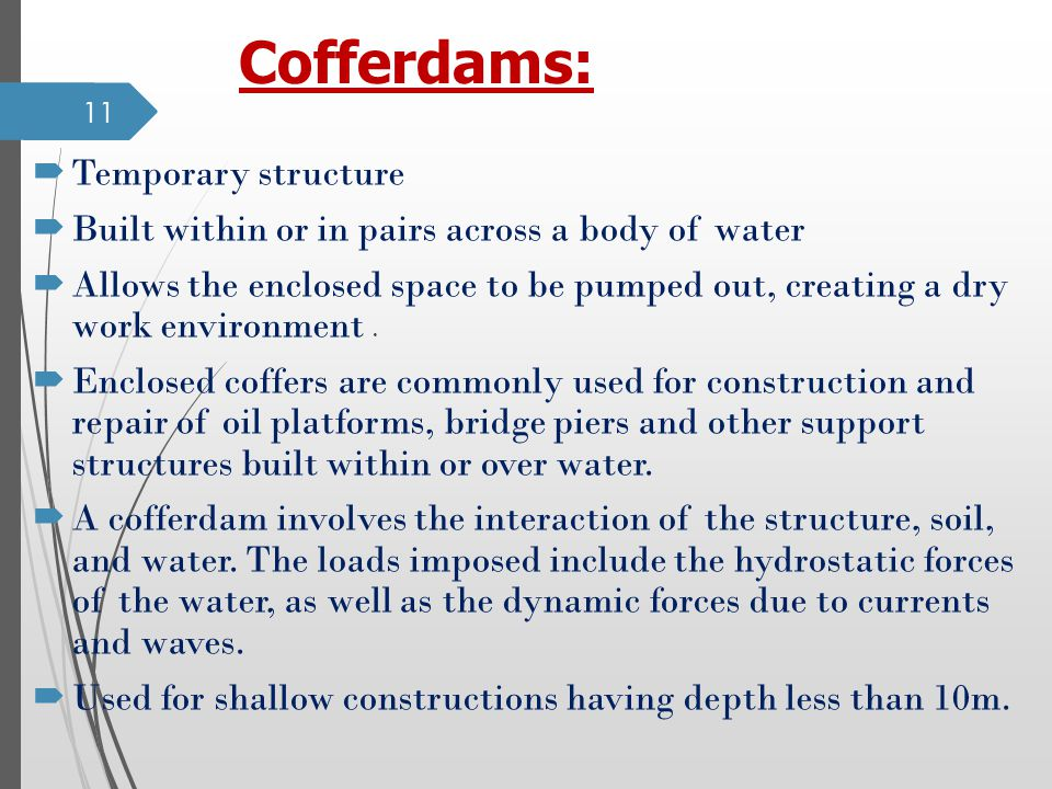 Cofferdams: Temporary structure