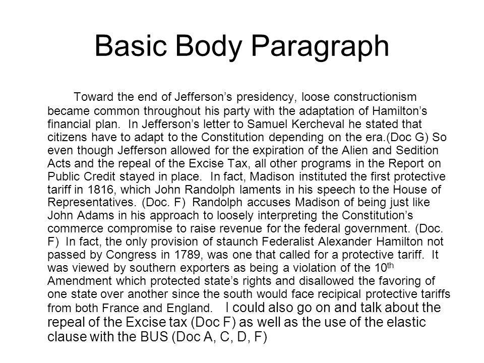 Basic Body Paragraph