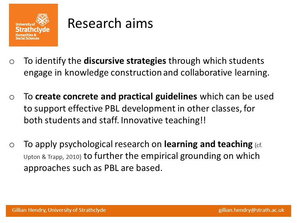 Research aims To identify the discursive strategies through which students engage in knowledge construction and collaborative learning.