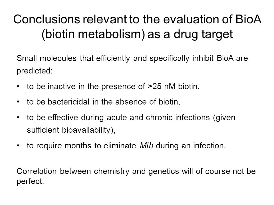Conclusions relevant to the evaluation of BioA (biotin metabolism) as a drug target