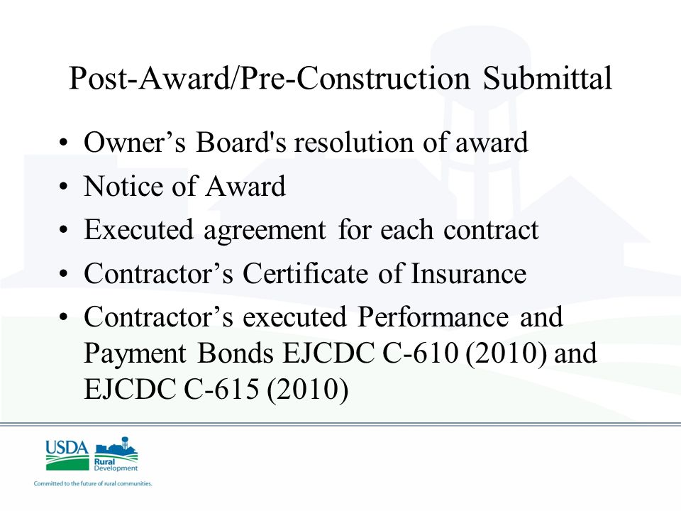 Post-Award/Pre-Construction Submittal