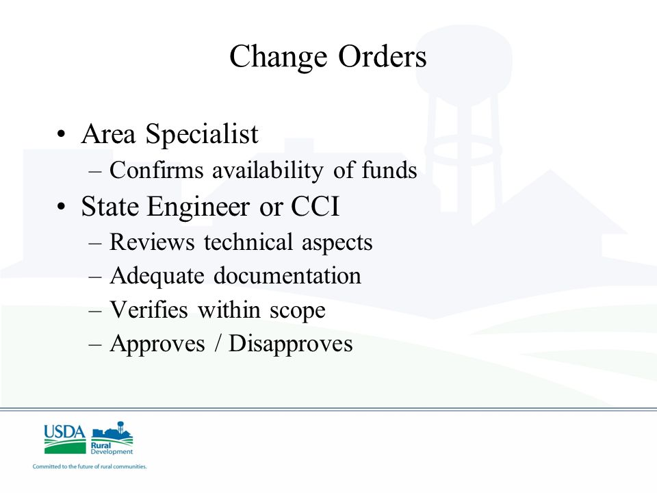 Change Orders Area Specialist State Engineer or CCI