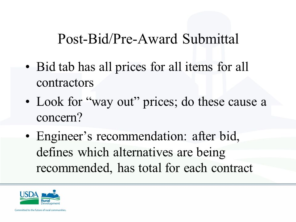 Post-Bid/Pre-Award Submittal