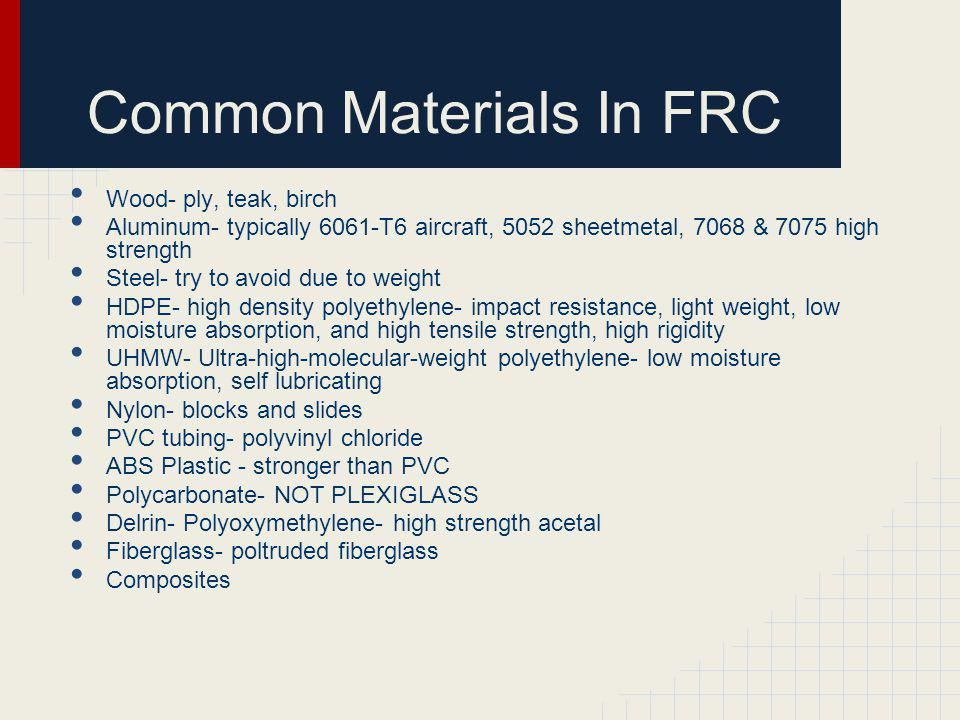 Common Materials In FRC