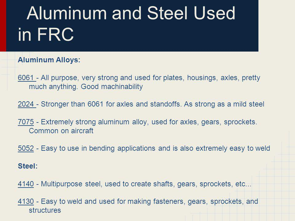 Aluminum and Steel Used in FRC